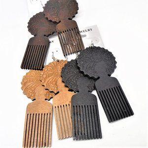 "3.5"" Wood Earrings w/ Hair Pic & Afro Cut"